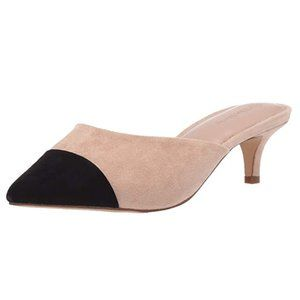 Suede Pointed Toe Two-Tone Mule